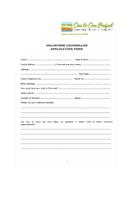 Volunteer Counsellor Application Form